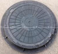 """Люк полимерпесчанный 4 ушковый ПП класс """"С"""" 12 т. Черный (d800мм*h80мм)h=крышки 40 мм,вес 40 кг."""